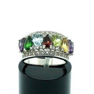 925 Sterling Silver Colored Stones Cocktail Ring